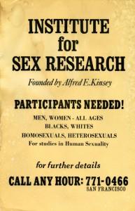 Un vecchio avviso di ricerca di volontari per uno studio clinico di sessuologia